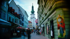Street in Bratislava, Slovakia at twilight,time lapse view. - stock footage