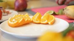 Slicing Fresh Organic Citrus Oranges Stock Footage