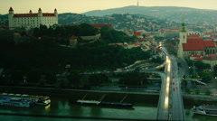 View over Bratislava and Danube river,time lapse view, Stock Footage