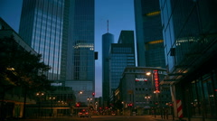 Sunrise with High-rise bank buildings  in Frankfurt am Main, Germany Stock Footage