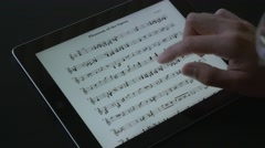 4K Music Sheet Reading On Tablet Stock Footage
