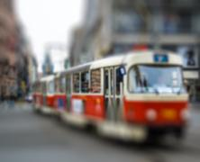 Old red tram, intentional blurred background Stock Photos
