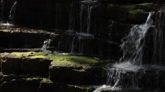 Small waterfall, gentle flowing water, moss, dappled sunlight Stock Footage