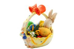 Easter bunny with easter eggs Stock Photos