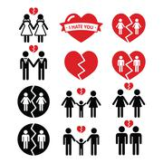 Gay or lesbian Couple breakup, divorce vector icons set - stock illustration