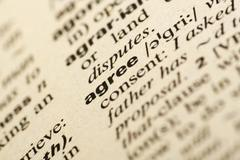 Agree  meaning in dictionary Stock Photos