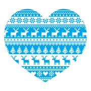 Christmas card with heart- blue Nordic, winter pattern on white - stock illustration