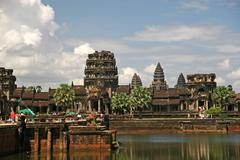 ankgor wat temple in cambodia - stock photo