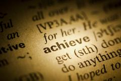 achieve meaning in dictionary - stock photo