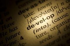 develop meaning in dictionary - stock photo