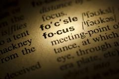 focus meaning in dictionary - stock photo