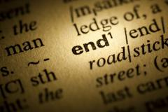 end meaning in dictionary - stock photo