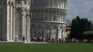 Stock Video Footage of Pisa Italy top of Leaning Tower tilt up