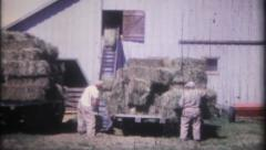 1277 - farmers work to store hay in the barn - vintage film home movie - stock footage