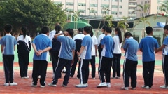 Chinese students in PE classes Stock Footage