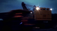 Coal mining with stars sky. Timelapse Stock Footage