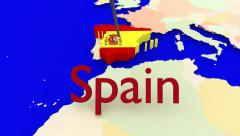 Worldmap Zooms to Spain Stock Footage