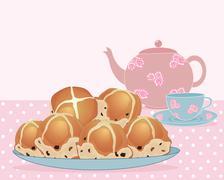 afternoon tea break - stock illustration