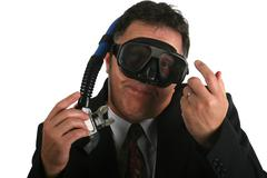 business going down wearing snorkle - stock photo