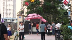 The gate of the kindergarten, the parents take their children Stock Footage