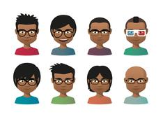 Young indian men wearing glasses avatar set Stock Illustration