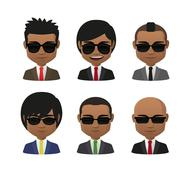Young indian men wearing suit and sun glasses avatar set Stock Illustration