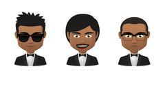 young indian men wearing tuxedo avatar set - stock illustration