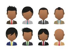 Young indian men wearing suit faceless avatar set Stock Illustration