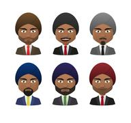 Young indian men wearing suit and turban avatar set Stock Illustration