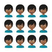 Young indian men avatar expression set Stock Illustration