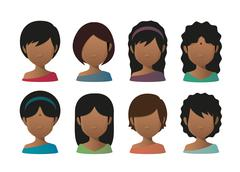 Young indian women faceless avatar set Stock Illustration