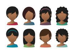 young indian women faceless avatar set - stock illustration