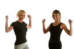 Pretty girls doing aerobic exercise Stock Photos