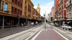 Melbourne street life at Flinders Street Station Stock Footage