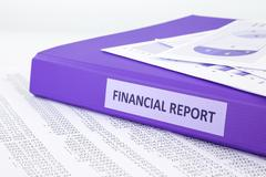Financial accounting report with sale and purchase statement Stock Photos