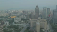 Aerial from Taipei 101 - sun yat sen hall and city Stock Footage