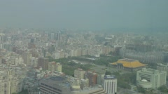 Wide aerial of Sun yat sen and stadium Stock Footage