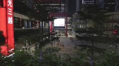Taipei - Xinyi square  - evening birds eye Stock Footage