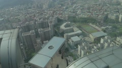 View of Taipei 101 from Starbucks 35th floor Stock Footage
