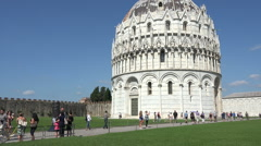 Pisa Italy Baptistry Cathedral Leaning Tower pan HD Stock Footage
