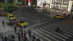 Birds eye view - pedestrians at xinyi intersection Stock Footage