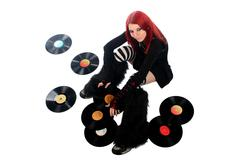 beautiful teenage girl with LP record disc - stock photo