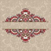 unusual floral ornamental template with place for your text - stock illustration