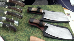 Axes, knives Stock Footage