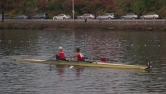 Two Person Crew Team Rowing on River Stock Footage