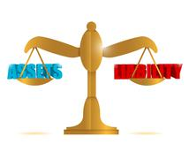 Assets and liability balance illustration Stock Illustration
