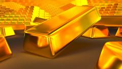 Animated falling fine bar of gold 4 Stock Footage