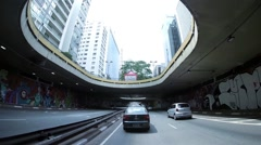 Driving on the Beginning of the Famous Paulista Avenue in Sao Paulo, Brazil Stock Footage