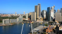 Panning aerial shot of Sydney CBD and Sydney Harbour, 4k Stock Footage