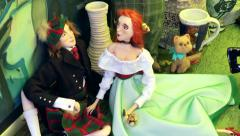 Toys made of fabric, plush toys. Stock Footage